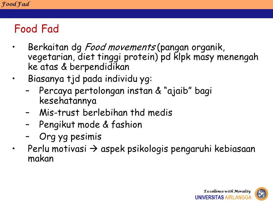 Berkaitan dg Food movements (pangan organik, vegetarian, diet tinggi protein) pd klpk masy menengah ke atas & berpendidikan Biasanya tjd pada individu
