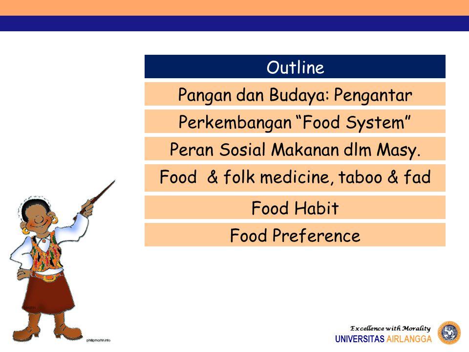 """Excellence with Morality UNIVERSITAS AIRLANGGA Outline Pangan dan Budaya: Pengantar Perkembangan """"Food System"""" Peran Sosial Makanan dlm Masy. Food & f"""