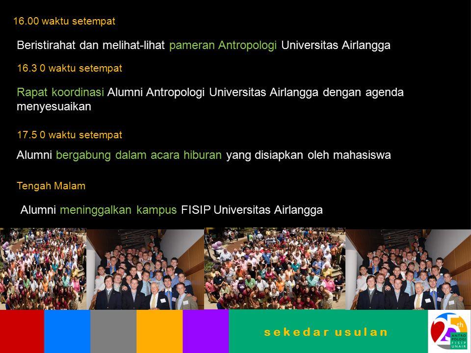 16.00 waktu setempat Beristirahat dan melihat-lihat pameran Antropologi Universitas Airlangga 16.3 0 waktu setempat Rapat koordinasi Alumni Antropolog