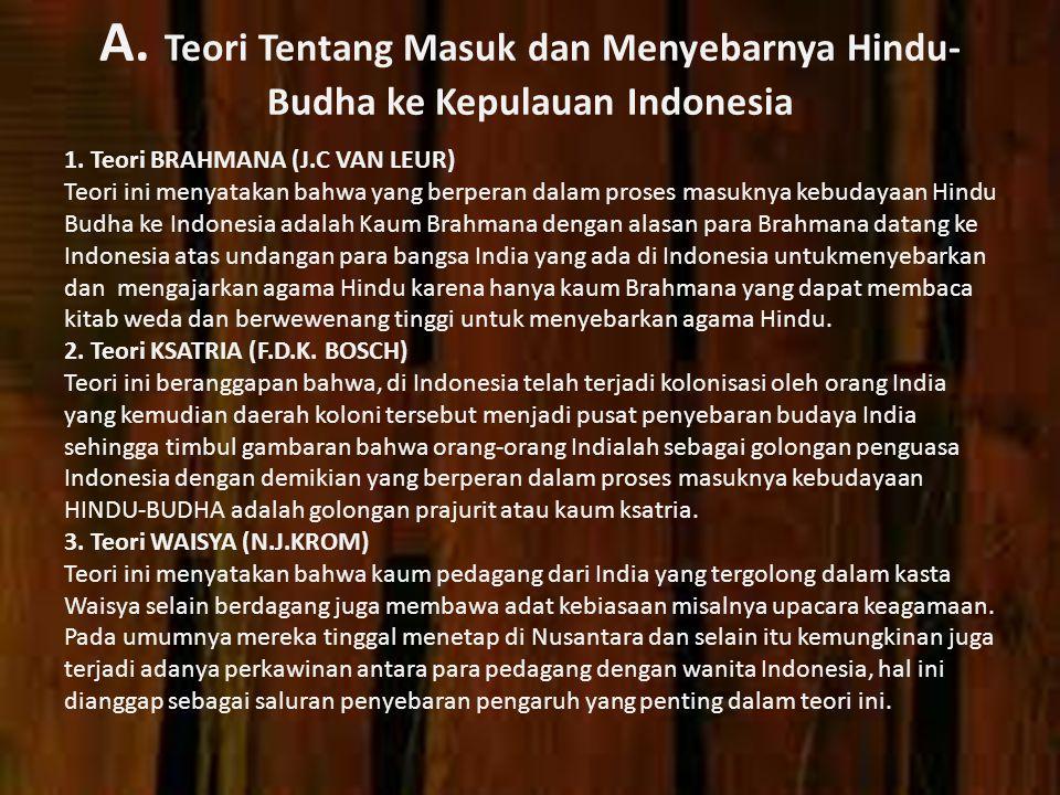 A. Teori Tentang Masuk dan Menyebarnya Hindu- Budha ke Kepulauan Indonesia 1. Teori BRAHMANA (J.C VAN LEUR) Teori ini menyatakan bahwa yang berperan d