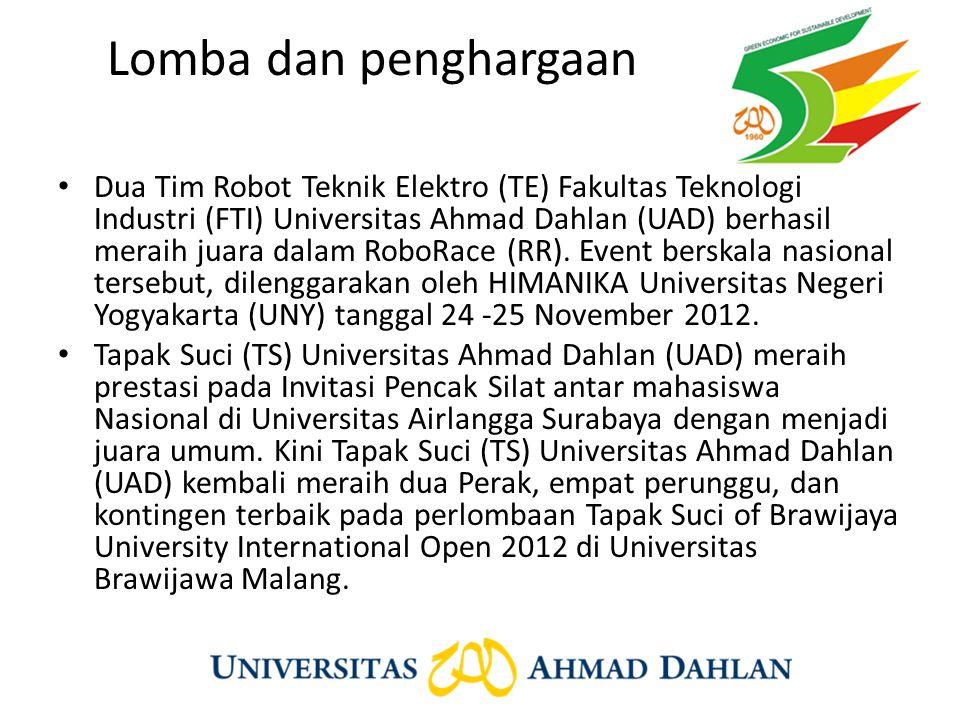 Lomba dan penghargaan Dua Tim Robot Teknik Elektro (TE) Fakultas Teknologi Industri (FTI) Universitas Ahmad Dahlan (UAD) berhasil meraih juara dalam R