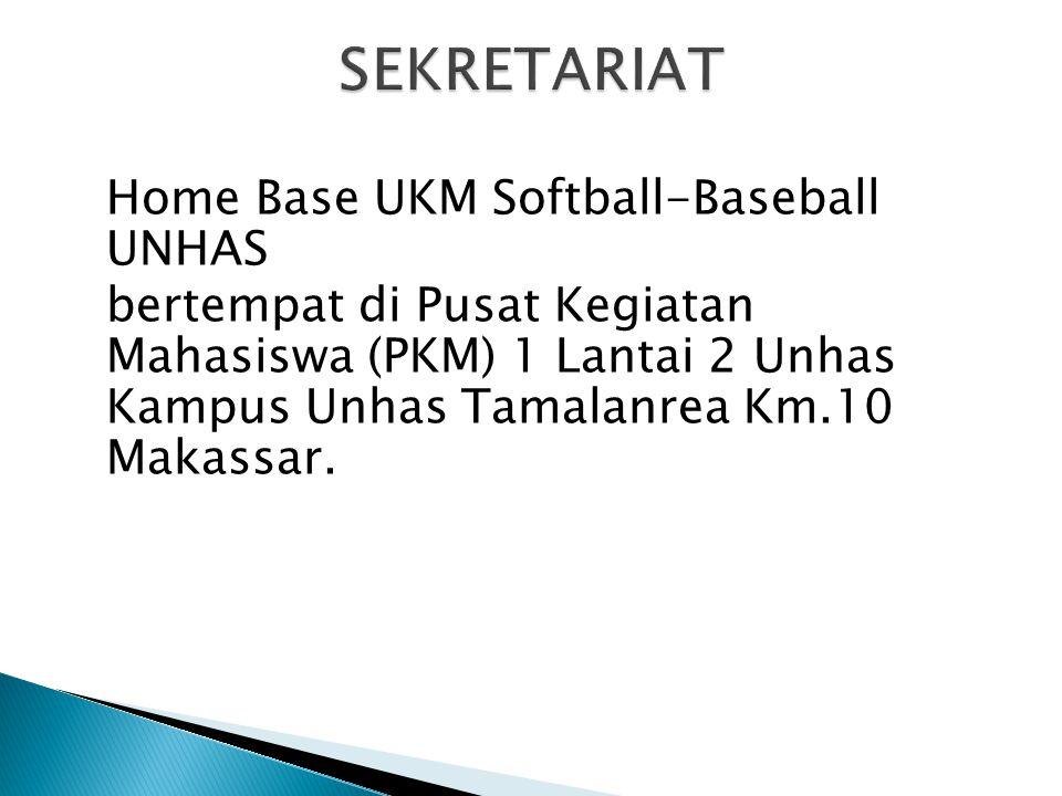 Home Base UKM Softball-Baseball UNHAS bertempat di Pusat Kegiatan Mahasiswa (PKM) 1 Lantai 2 Unhas Kampus Unhas Tamalanrea Km.10 Makassar.