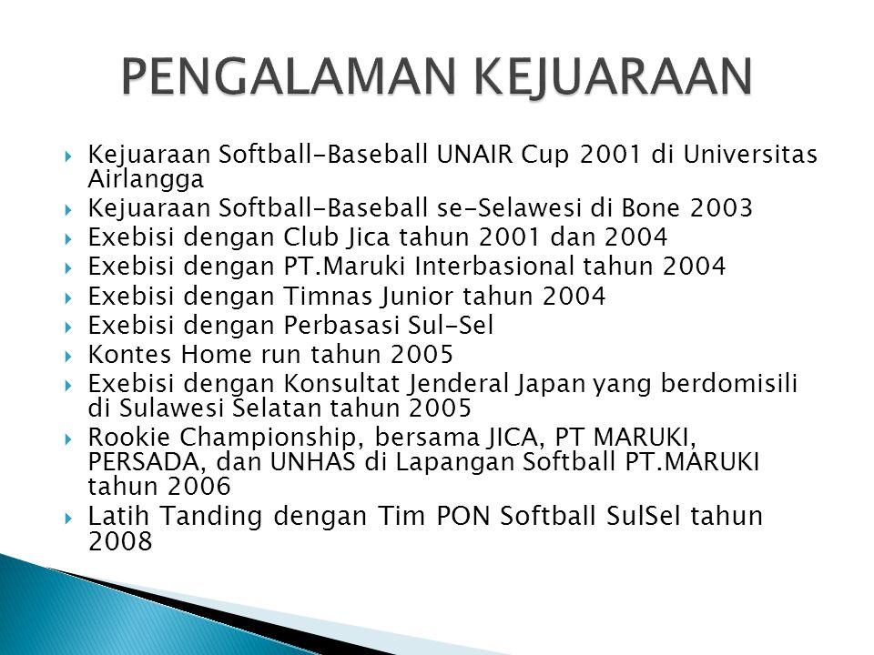  Kejuaraan Softball-Baseball UNAIR Cup 2001 di Universitas Airlangga  Kejuaraan Softball-Baseball se-Selawesi di Bone 2003  Exebisi dengan Club Jica tahun 2001 dan 2004  Exebisi dengan PT.Maruki Interbasional tahun 2004  Exebisi dengan Timnas Junior tahun 2004  Exebisi dengan Perbasasi Sul-Sel  Kontes Home run tahun 2005  Exebisi dengan Konsultat Jenderal Japan yang berdomisili di Sulawesi Selatan tahun 2005  Rookie Championship, bersama JICA, PT MARUKI, PERSADA, dan UNHAS di Lapangan Softball PT.MARUKI tahun 2006  Latih Tanding dengan Tim PON Softball SulSel tahun 2008