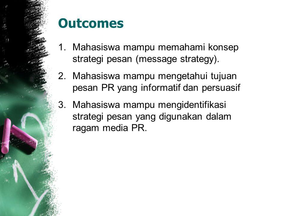 Outcomes 1.Mahasiswa mampu memahami konsep strategi pesan (message strategy). 2.Mahasiswa mampu mengetahui tujuan pesan PR yang informatif dan persuas