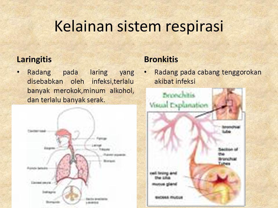 Kelainan sistem respirasi asifikasi Gangguan pernapasan pada waktu pengangkutan dan penggunaan oksigen yang disebabkan oleh tenggelam (akibat alveolus terisi air), pneunomia (alveolus terisi cairan lendir atau limfe), keracunan CO dan HCN, atau gangguan sistem sitokrom (enzim pernapasan).