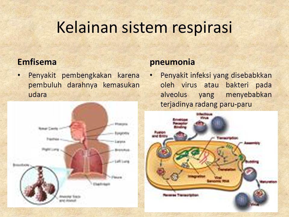 Kelainan sistem respirasi Kanker paru-paru: Kanker paru-paru sangat berpengaruh terhadap pertukaran gas keseluruh tubuh.