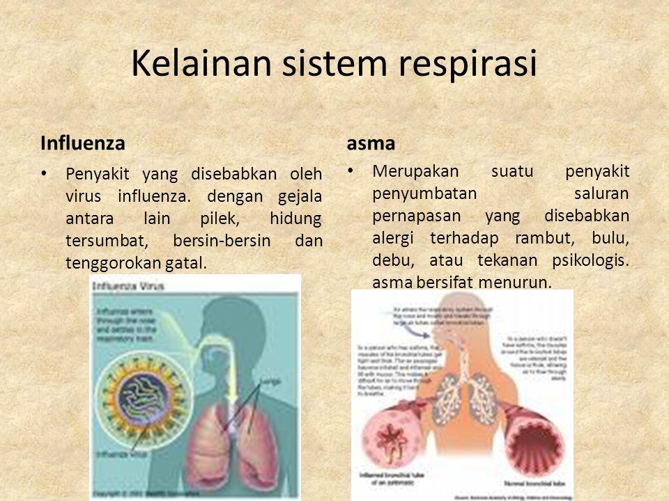 Kelainan sistem respirasi Tubercolosis Penyakit paru-paru yang diakibatkan serangan bakteri mycobacterium tubercolosis.