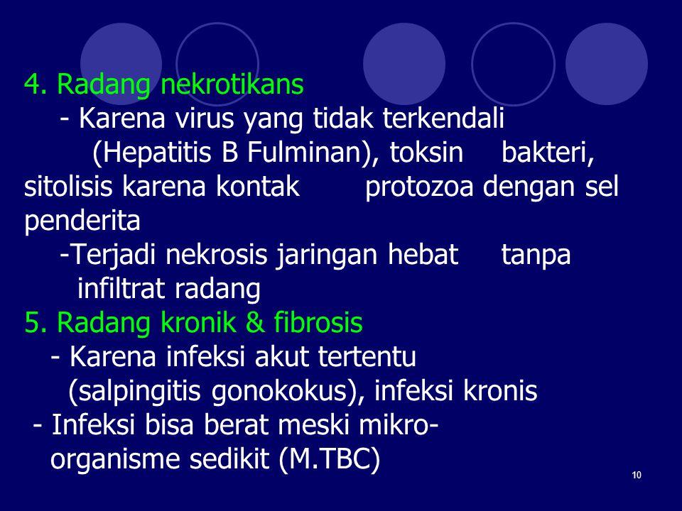 10 4. Radang nekrotikans - Karena virus yang tidak terkendali (Hepatitis B Fulminan), toksin bakteri, sitolisis karena kontak protozoa dengan sel pend