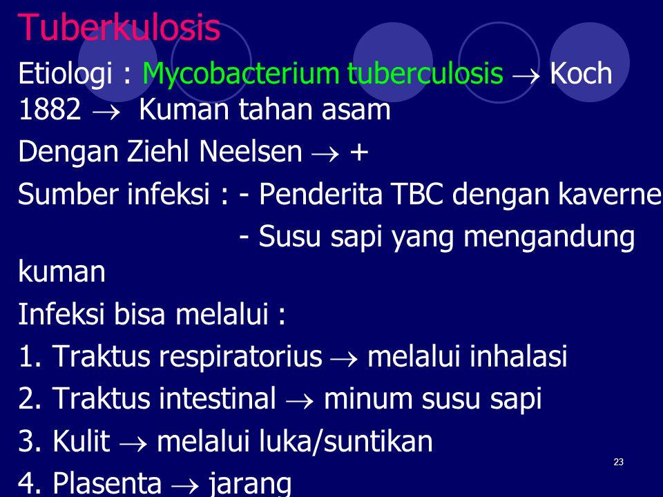 23 Tuberkulosis Etiologi : Mycobacterium tuberculosis  Koch 1882  Kuman tahan asam Dengan Ziehl Neelsen  + Sumber infeksi : - Penderita TBC dengan