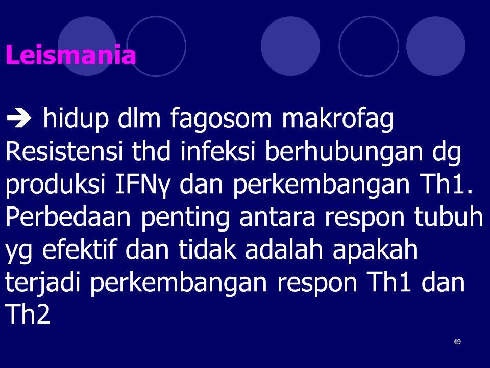 49 Leismania  hidup dlm fagosom makrofag Resistensi thd infeksi berhubungan dg produksi IFNγ dan perkembangan Th1. Perbedaan penting antara respon tu