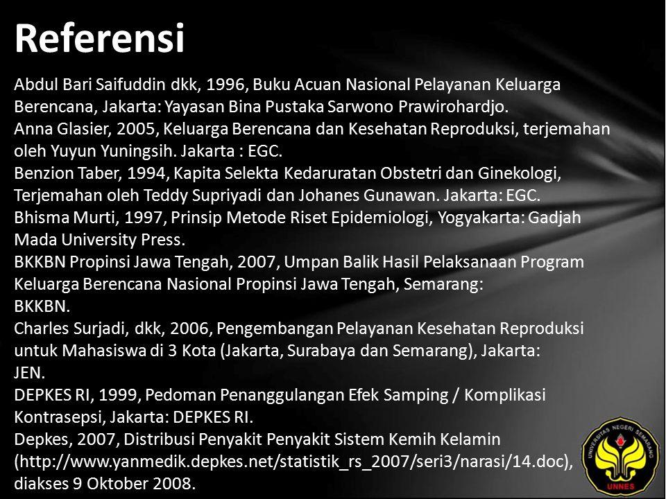Referensi Abdul Bari Saifuddin dkk, 1996, Buku Acuan Nasional Pelayanan Keluarga Berencana, Jakarta: Yayasan Bina Pustaka Sarwono Prawirohardjo.