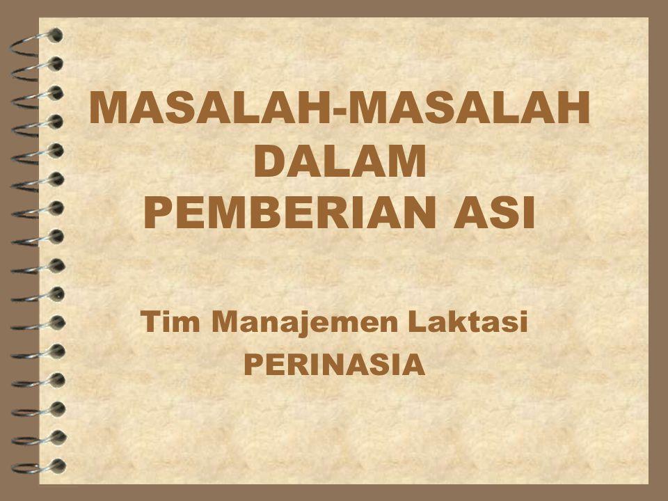 MASALAH-MASALAH DALAM PEMBERIAN ASI Tim Manajemen Laktasi PERINASIA