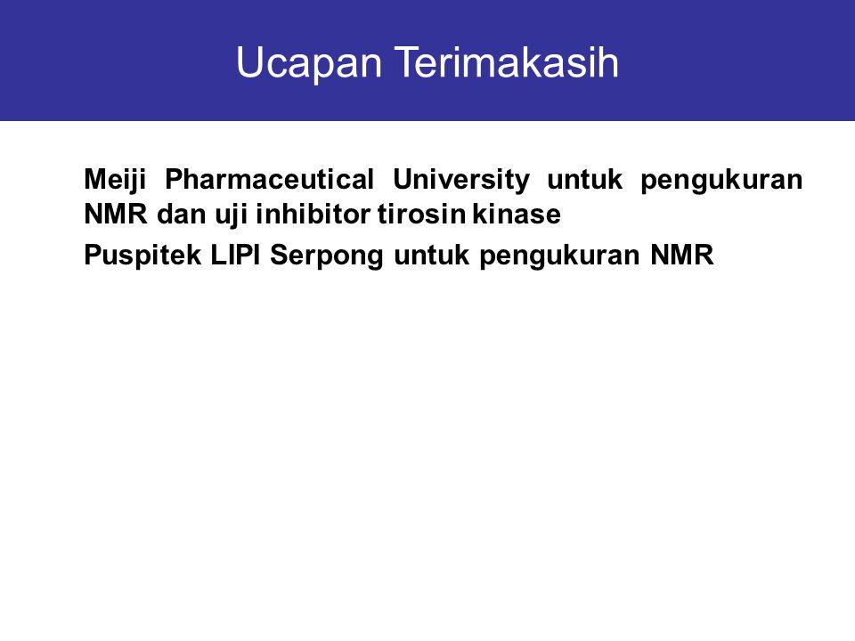  Meiji Pharmaceutical University untuk pengukuran NMR dan uji inhibitor tirosin kinase  Puspitek LIPI Serpong untuk pengukuran NMR Ucapan Terimakasi