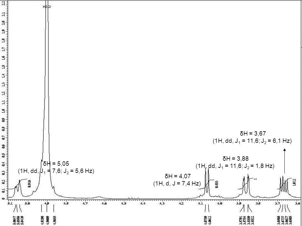 δH = 5,05 (1H, dd, J 1 = 7,6; J 2 = 5,6 Hz) δH = 4,07 (1H, d, J = 7,4 Hz) δH = 3,88 (1H, dd, J 1 = 11,6; J 2 = 1,8 Hz) δH = 3,67 (1H, dd, J 1 = 11,6;