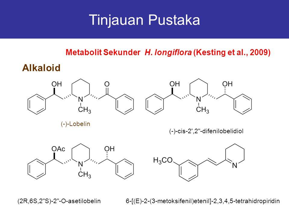 Tinjauan Pustaka Alkaloid Metabolit Sekunder H. longiflora (Kesting et al., 2009) (-)-Lobelin (-)-cis-2',2