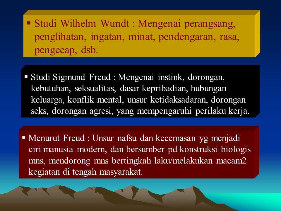  Studi Wilhelm Wundt : Mengenai perangsang, penglihatan, ingatan, minat, pendengaran, rasa, pengecap, dsb.