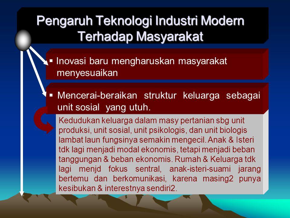 Pengaruh Teknologi Industri Modern Terhadap Masyarakat Kedudukan keluarga dalam masy pertanian sbg unit produksi, unit sosial, unit psikologis, dan unit biologis lambat laun fungsinya semakin mengecil.