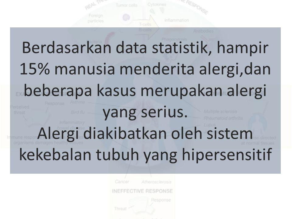 Berdasarkan data statistik, hampir 15% manusia menderita alergi,dan beberapa kasus merupakan alergi yang serius. Alergi diakibatkan oleh sistem kekeba