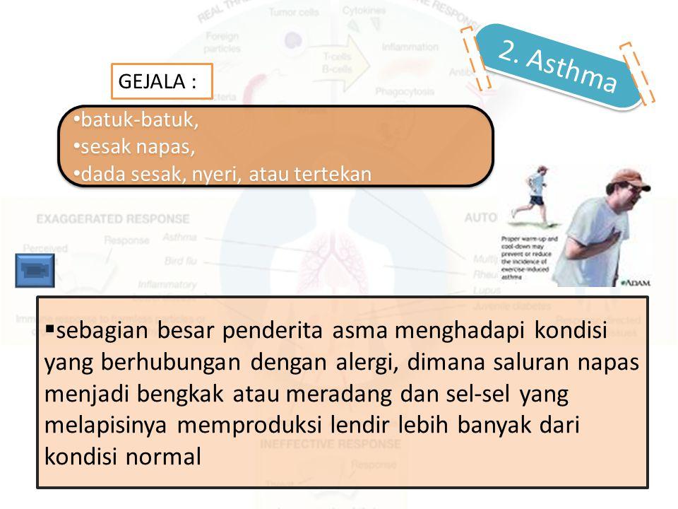  sebagian besar penderita asma menghadapi kondisi yang berhubungan dengan alergi, dimana saluran napas menjadi bengkak atau meradang dan sel-sel yang