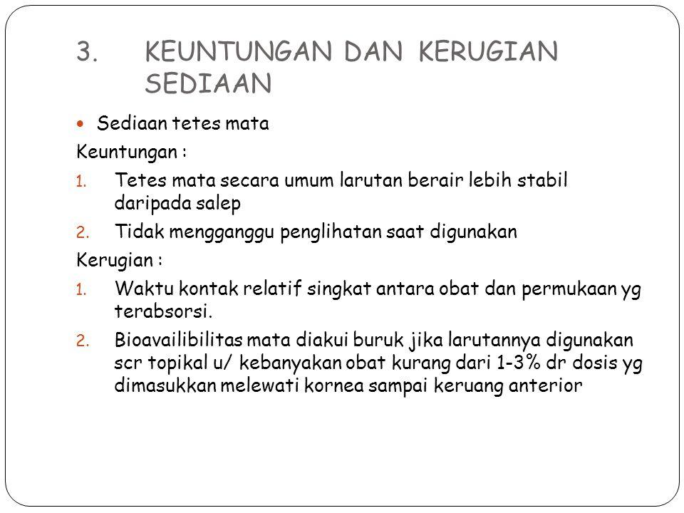 3.KEUNTUNGAN DAN KERUGIAN SEDIAAN (cont...) Collyrium Keuntungan: 1.