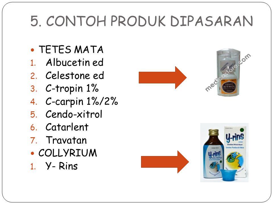 5. CONTOH PRODUK DIPASARAN TETES MATA 1. Albucetin ed 2. Celestone ed 3. C-tropin 1% 4. C-carpin 1%/2% 5. Cendo-xitrol 6. Catarlent 7. Travatan COLLYR