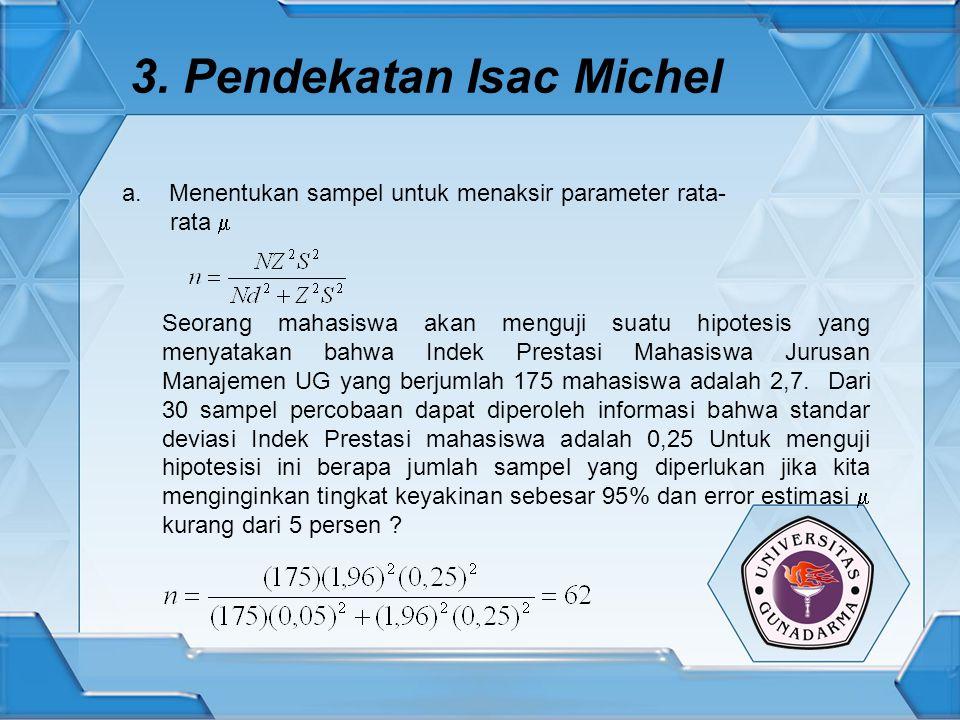 3. Pendekatan Isac Michel Seorang mahasiswa akan menguji suatu hipotesis yang menyatakan bahwa Indek Prestasi Mahasiswa Jurusan Manajemen UG yang berj