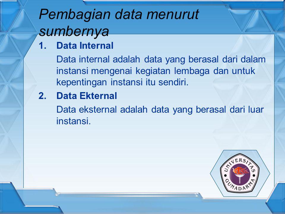 Pembagian data menurut sumbernya 1.Data Internal Data internal adalah data yang berasal dari dalam instansi mengenai kegiatan lembaga dan untuk kepent