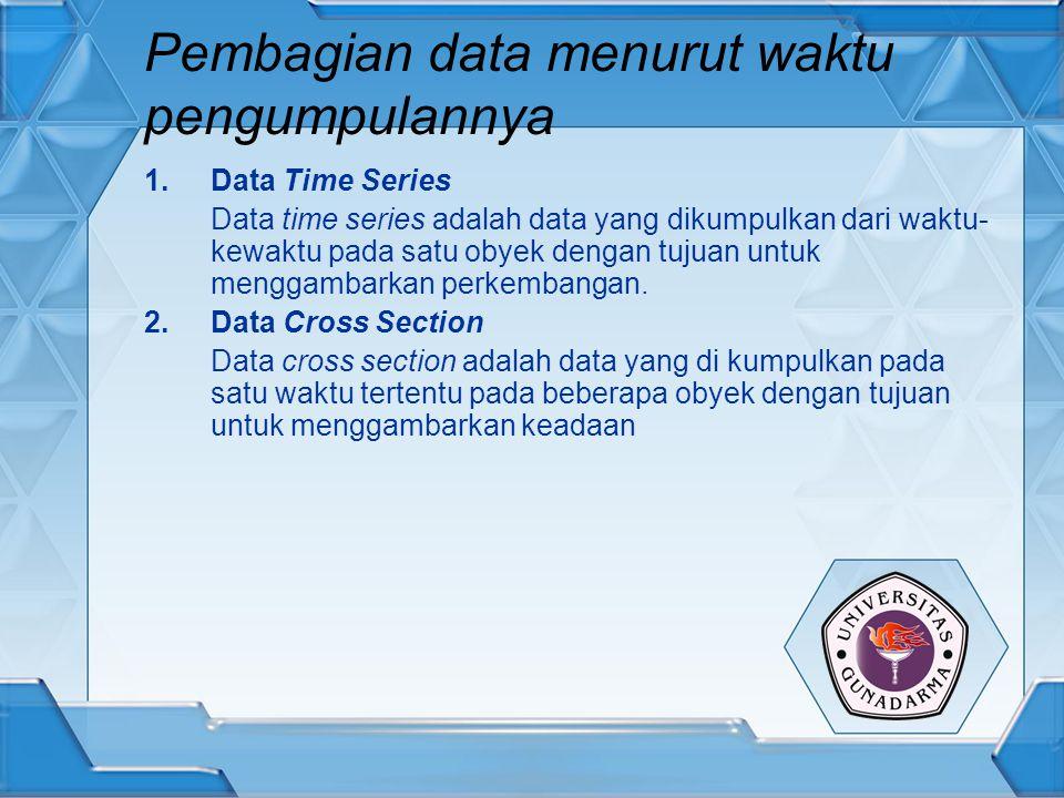 Pembagian data menurut waktu pengumpulannya 1.Data Time Series Data time series adalah data yang dikumpulkan dari waktu- kewaktu pada satu obyek denga