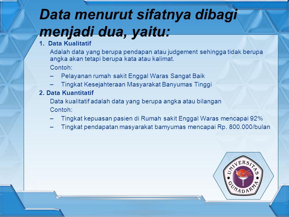 Data menurut sifatnya dibagi menjadi dua, yaitu: 1. Data Kualitatif Adalah data yang berupa pendapan atau judgement sehingga tidak berupa angka akan t