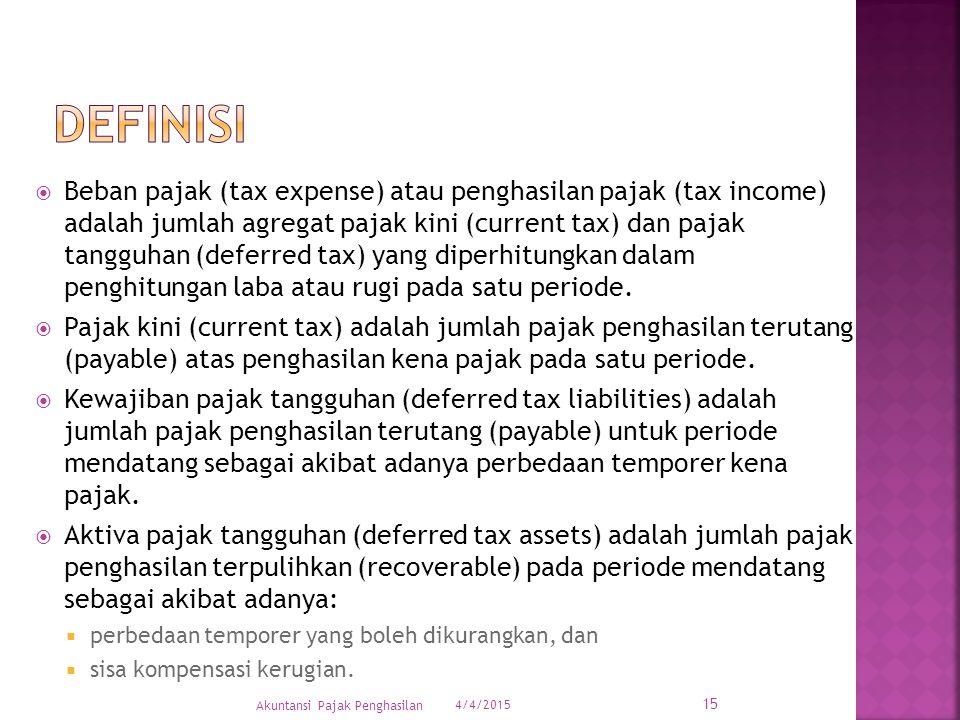  Beban pajak (tax expense) atau penghasilan pajak (tax income) adalah jumlah agregat pajak kini (current tax) dan pajak tangguhan (deferred tax) yang