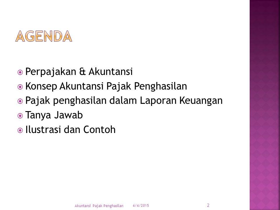  Perpajakan & Akuntansi  Konsep Akuntansi Pajak Penghasilan  Pajak penghasilan dalam Laporan Keuangan  Tanya Jawab  Ilustrasi dan Contoh 4/4/2015