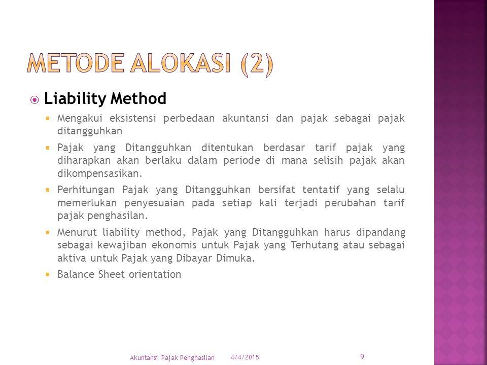  Liability Method  Mengakui eksistensi perbedaan akuntansi dan pajak sebagai pajak ditangguhkan  Pajak yang Ditangguhkan ditentukan berdasar tarif