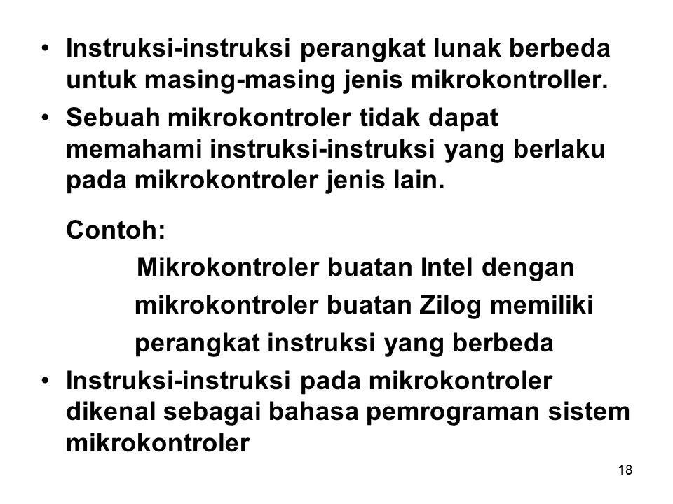 18 Instruksi-instruksi perangkat lunak berbeda untuk masing-masing jenis mikrokontroller.