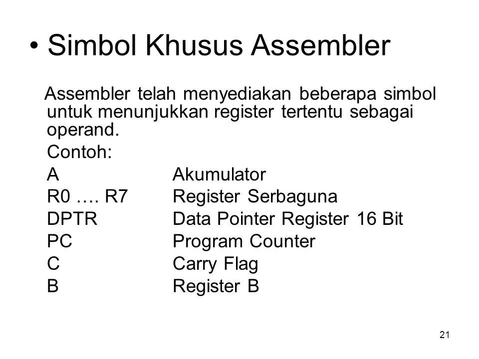 21 Simbol Khusus Assembler Assembler telah menyediakan beberapa simbol untuk menunjukkan register tertentu sebagai operand.