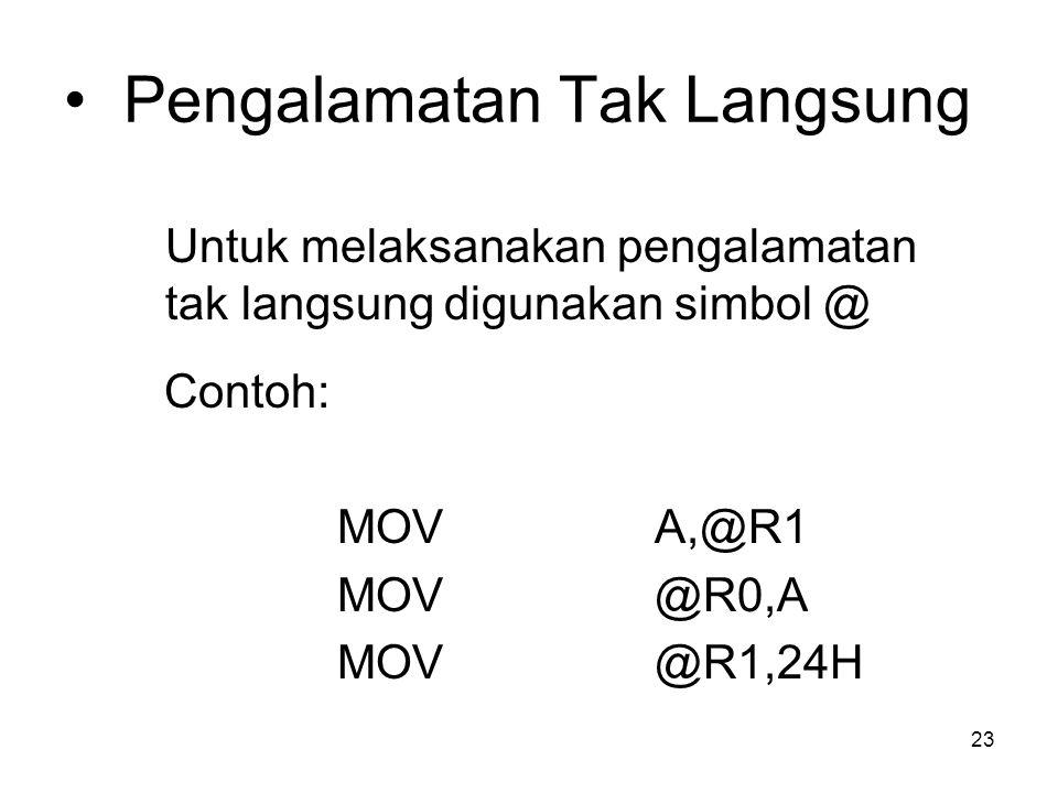 23 Pengalamatan Tak Langsung Untuk melaksanakan pengalamatan tak langsung digunakan simbol @ Contoh: MOVA,@R1 MOV@R0,A MOV@R1,24H