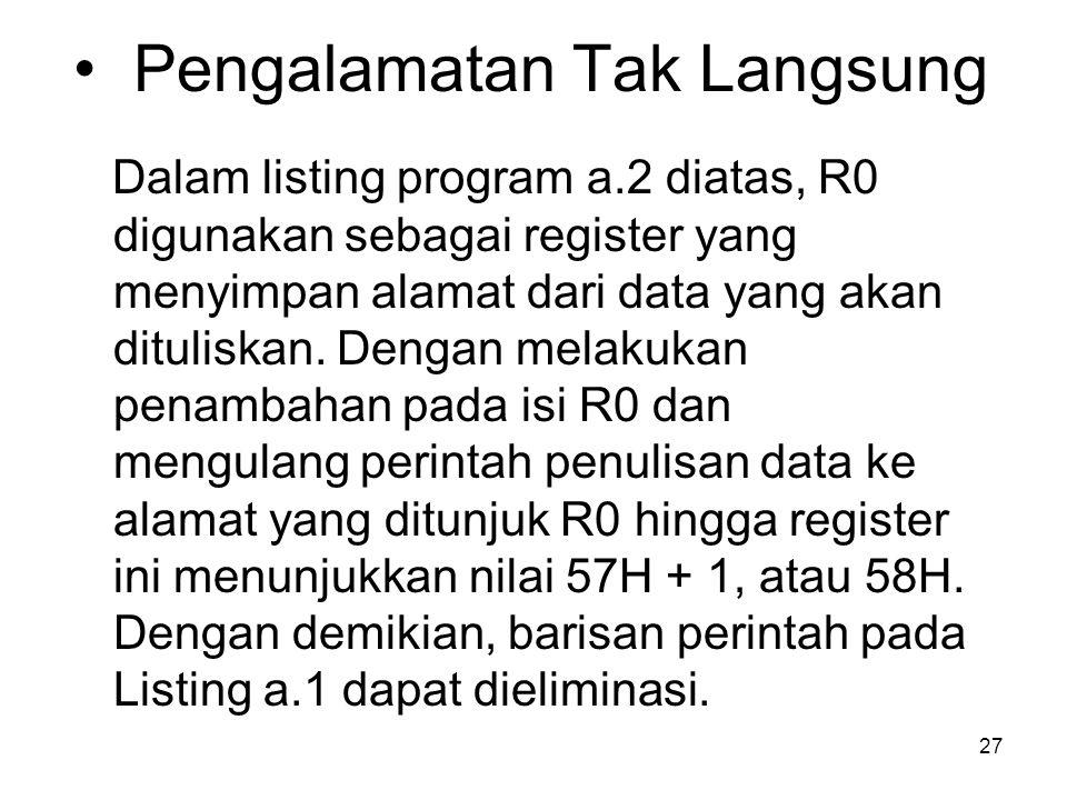 27 Pengalamatan Tak Langsung Dalam listing program a.2 diatas, R0 digunakan sebagai register yang menyimpan alamat dari data yang akan dituliskan.