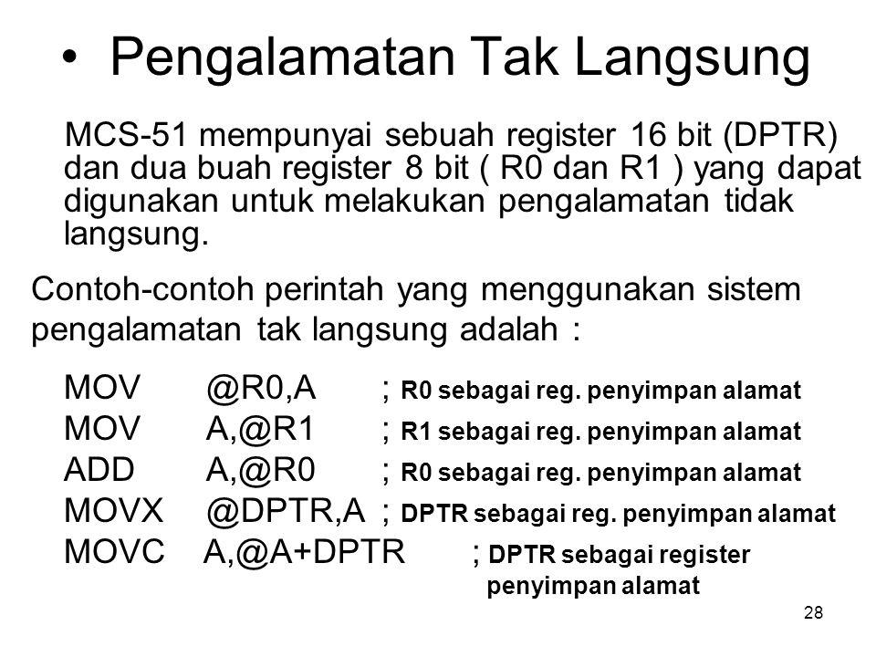 28 Pengalamatan Tak Langsung MCS-51 mempunyai sebuah register 16 bit (DPTR) dan dua buah register 8 bit ( R0 dan R1 ) yang dapat digunakan untuk melakukan pengalamatan tidak langsung.