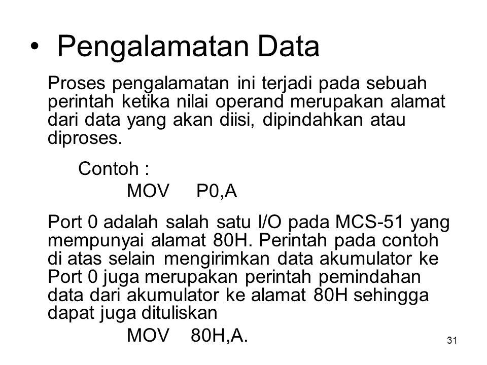 31 Pengalamatan Data Proses pengalamatan ini terjadi pada sebuah perintah ketika nilai operand merupakan alamat dari data yang akan diisi, dipindahkan atau diproses.