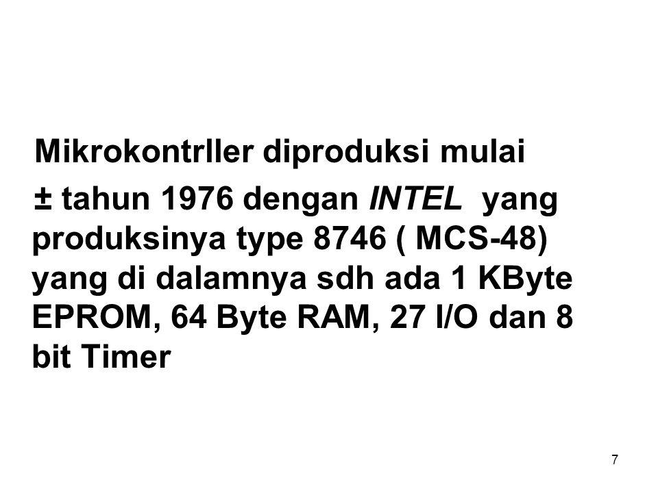7 Mikrokontrller diproduksi mulai ± tahun 1976 dengan INTEL yang produksinya type 8746 ( MCS-48) yang di dalamnya sdh ada 1 KByte EPROM, 64 Byte RAM, 27 I/O dan 8 bit Timer