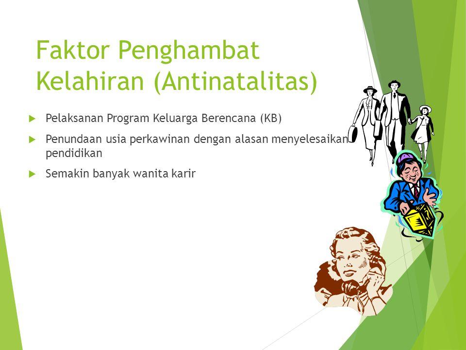 Faktor Penghambat Kelahiran (Antinatalitas)  Pelaksanan Program Keluarga Berencana (KB)  Penundaan usia perkawinan dengan alasan menyelesaikan pendi