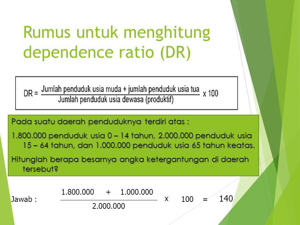 Rumus untuk menghitung dependence ratio (DR) Pada suatu daerah penduduknya terdiri atas : 1.800.000 penduduk usia 0 – 14 tahun, 2.000.000 penduduk usi