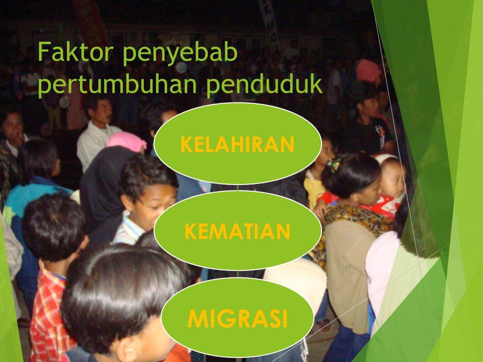 Faktor penyebab pertumbuhan penduduk KEMATIAN KELAHIRAN MIGRASI