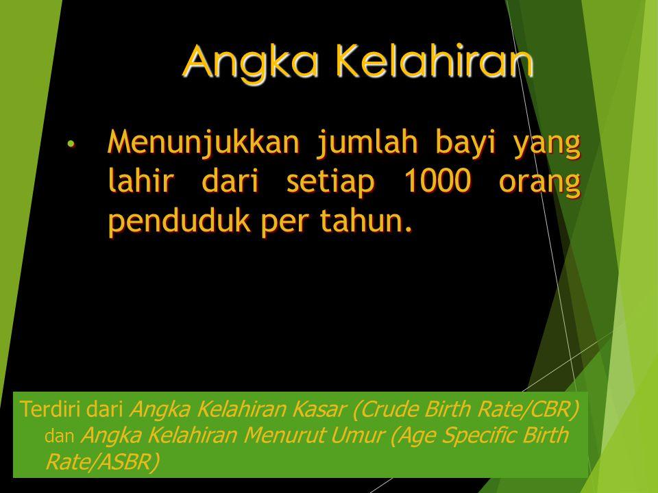 Angka Kelahiran Menunjukkan jumlah bayi yang lahir dari setiap 1000 orang penduduk per tahun. Menunjukkan jumlah bayi yang lahir dari setiap 1000 oran