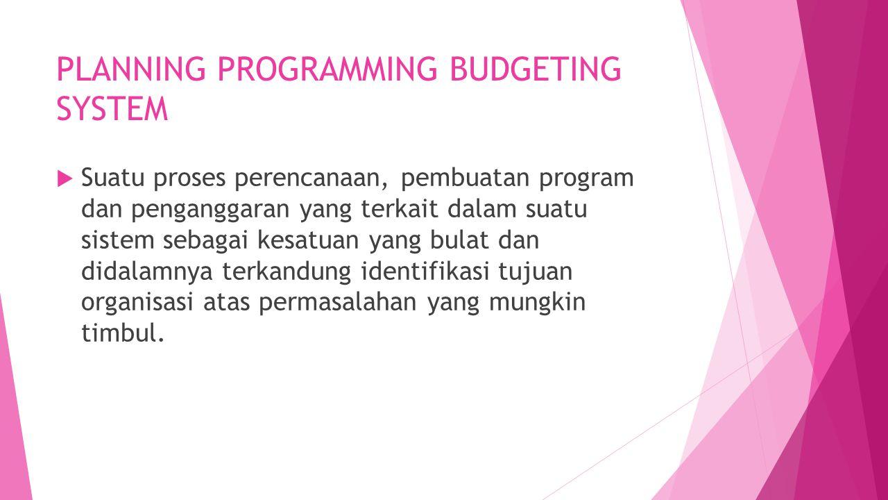 PLANNING PROGRAMMING BUDGETING SYSTEM  Suatu proses perencanaan, pembuatan program dan penganggaran yang terkait dalam suatu sistem sebagai kesatuan