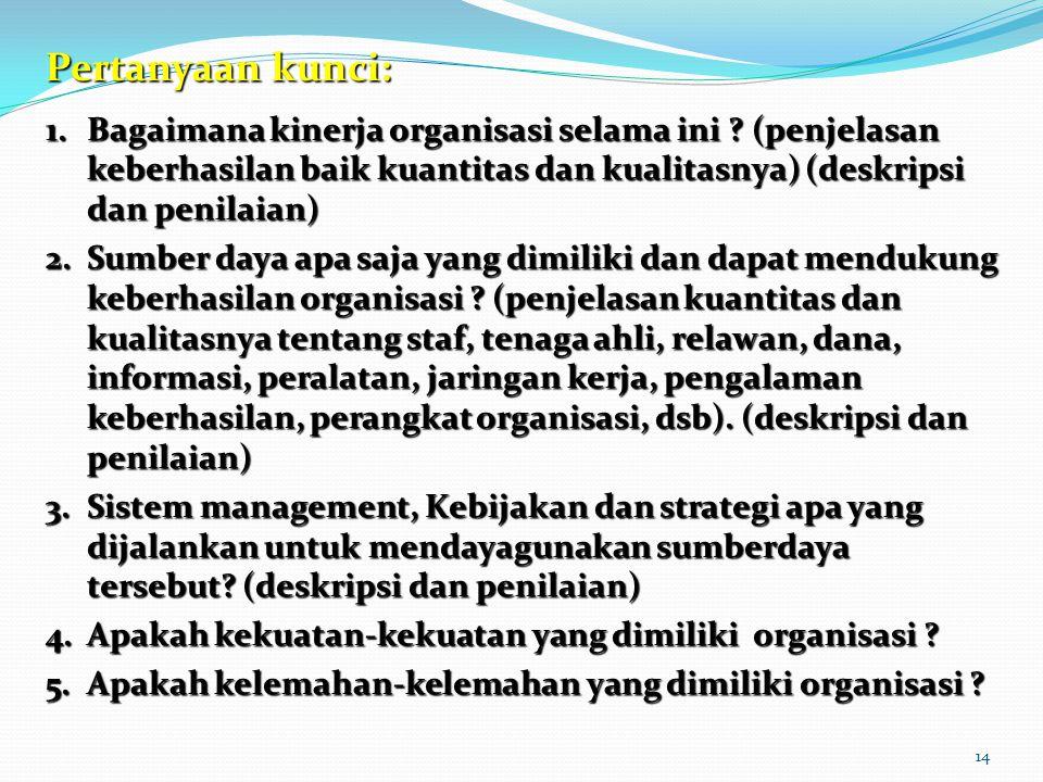 14 Pertanyaan kunci: 1.Bagaimana kinerja organisasi selama ini ? (penjelasan keberhasilan baik kuantitas dan kualitasnya) (deskripsi dan penilaian) 2.