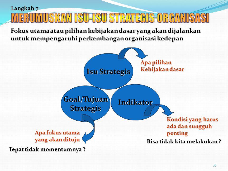 16 Langkah 7 Fokus utama atau pilihan kebijakan dasar yang akan dijalankan untuk mempengaruhi perkembangan organisasi kedepan Isu Strategis Goal/Tujua