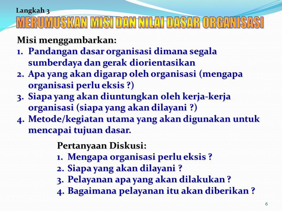 6 Langkah 3 Misi menggambarkan: 1.Pandangan dasar organisasi dimana segala sumberdaya dan gerak diorientasikan 2.Apa yang akan digarap oleh organisasi