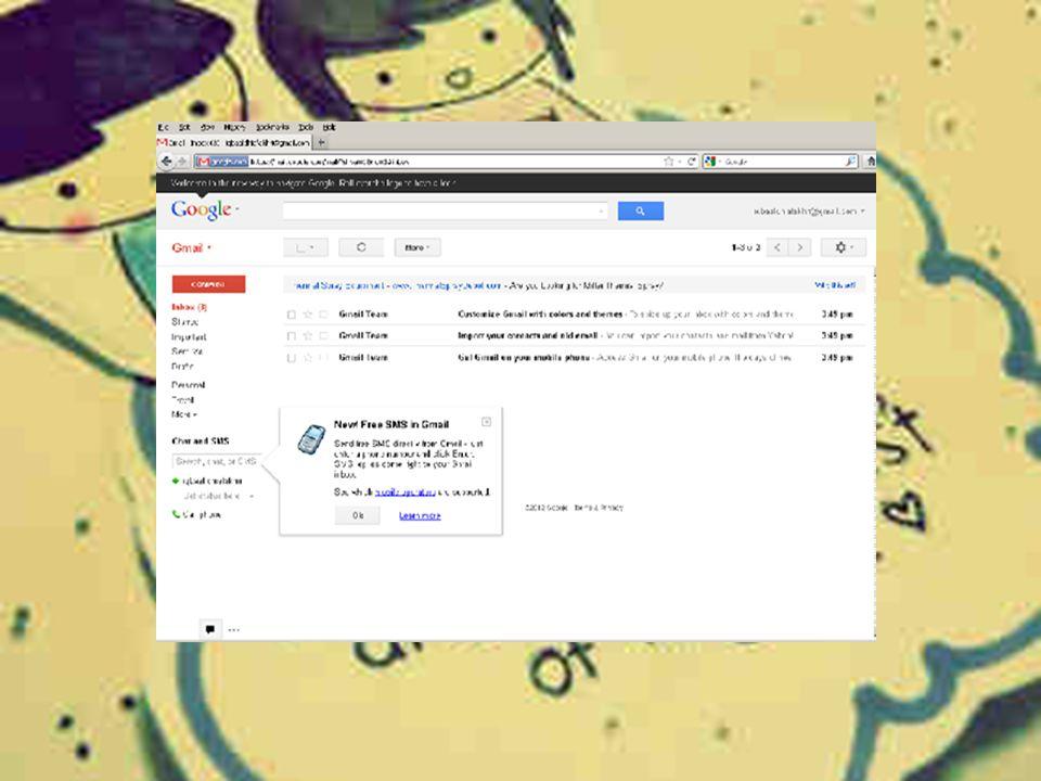 f. Kliklah tombol show my account. Dengan demikian telah resmi terdaftar di gmail. Gmail akan menyediakan kotak surat.Perlu diketahui juga bahwa pada