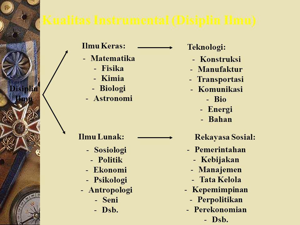 Kualitas Instrumental (Disiplin Ilmu) Disiplin Ilmu Ilmu Keras: -Matematika -Fisika -Kimia -Biologi -Astronomi Ilmu Lunak: -Sosiologi -Politik -Ekonom