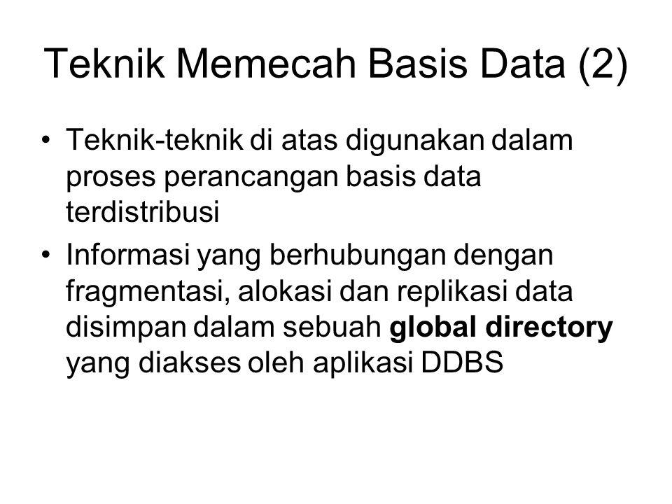 Teknik Memecah Basis Data (2) Teknik-teknik di atas digunakan dalam proses perancangan basis data terdistribusi Informasi yang berhubungan dengan fragmentasi, alokasi dan replikasi data disimpan dalam sebuah global directory yang diakses oleh aplikasi DDBS